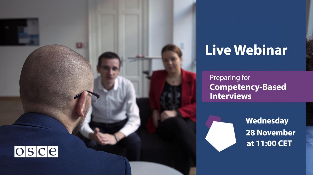 "Featuring the webinar ""Preparing for Competency-Based Interviews"" on 28 November 2018: A man with short hair viewed from his back of his head having a conversation with to two other persons."