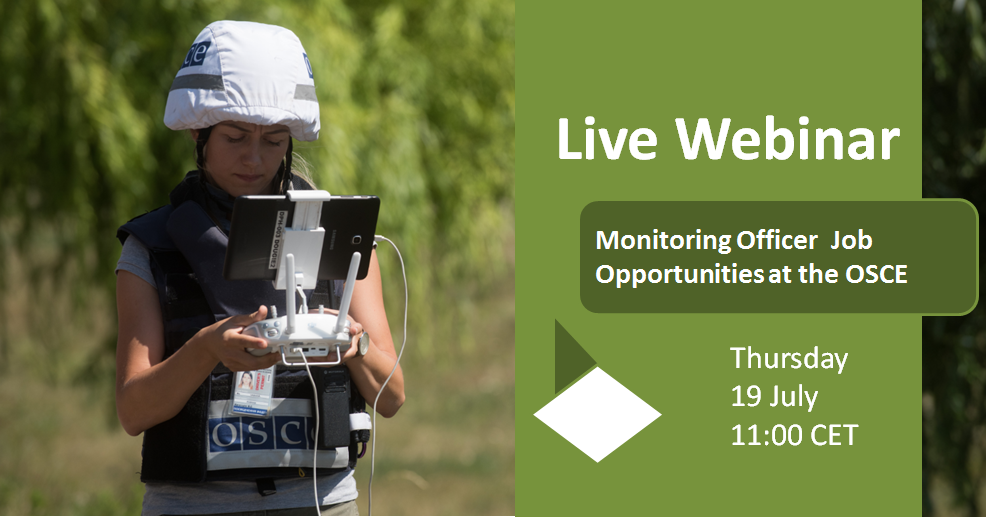 "Featuring the webinar ""Monitoring Officer Opportunities at the OSCE"" on 19 July 2018: A female Ukraine monitor using a controller device for a drone."