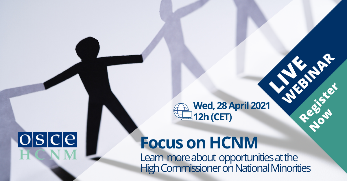 Webinar Outreach Programme - Focus on HCNM - Wednesday, 28 April 2021 at 12h (CET)
